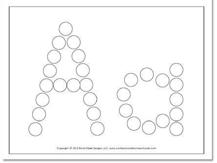 paint dot worksheets  preschool letter   images