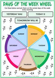 days   week  english worksheet  bruin blog