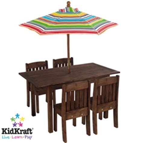 kidkraft table stacking chairs with striped umbrella