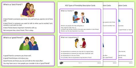 Ks3 Types Of Friendship Description Cards  Ks3, Types, Friendship
