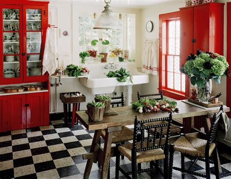 Red Country Kitchen  Best Design For Big Small Kitchen