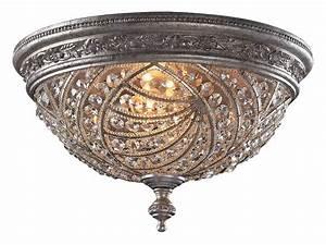 Elk lighting 6232 4 crystal renaissance flush mount for Flush mount crystal ceiling light fixtures
