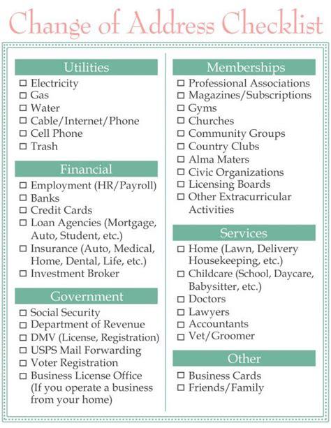 Moving Change Of Address Checklist Wwwhomesweetlifeblog