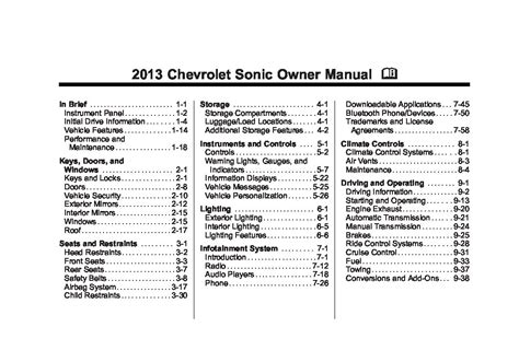 chevrolet sonic owners manual  give   damn