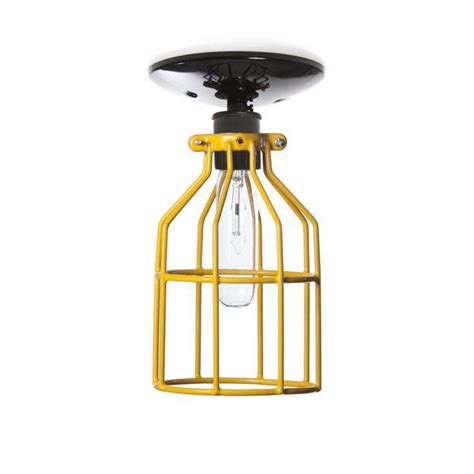 industrial lighting yellow cage light ceiling