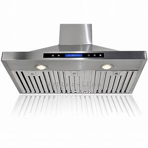 36quot wall mount stainless steel kitchen range hood vent for Kitchen vent fans