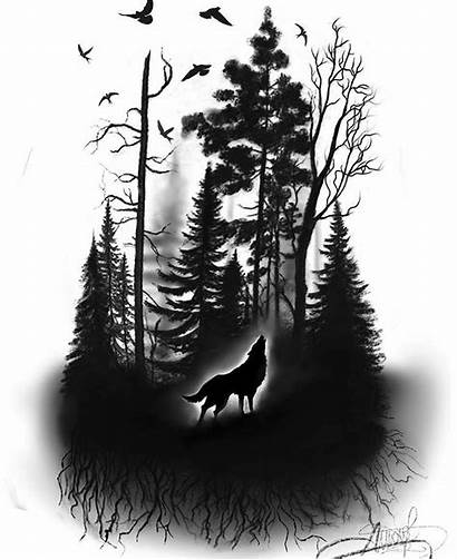 Tattoo Forest Wolf Drawing Lobo Sleeve Tattoos