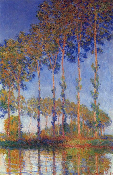 Poplars in the Epte, sunset by Monet - Monet Canvas