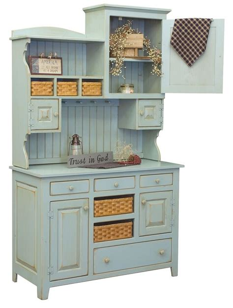 Amish Country Kitchen Hutch Farm House Pantry Cupboard