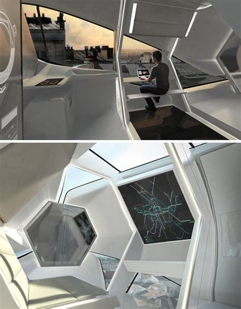 futuristic rooftop living room   compact prefab capsule