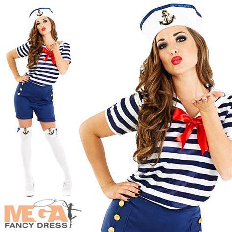 Sassy Sailor Girl Fancy Dress Ladies Nautical Navy Uniform Womens Costume Outfit | eBay