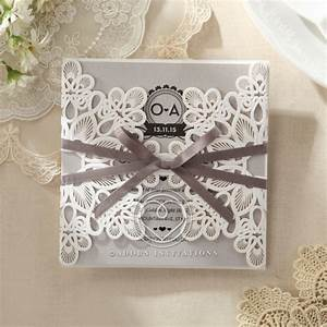 gated flower invitation modern with grey satin ribbon With rustic laser cut wedding invitations uk