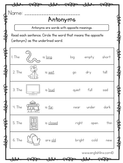 englishlinx antonyms worksheets