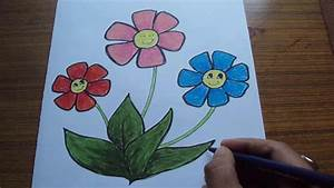 How to Draw Cartoon Flowers for Kids using Pastel - YouTube