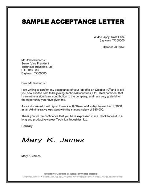 Notice of acceptance sample. 14+ Job Acceptance Letters