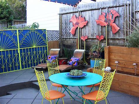 colorful youthful back patios
