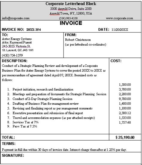 business invoice sample format   typical business