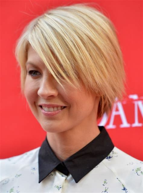 blonde short layered haircuts  jenna elfman popular