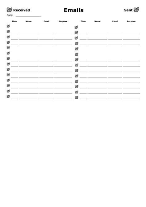 incomingoutgoing email log template printable
