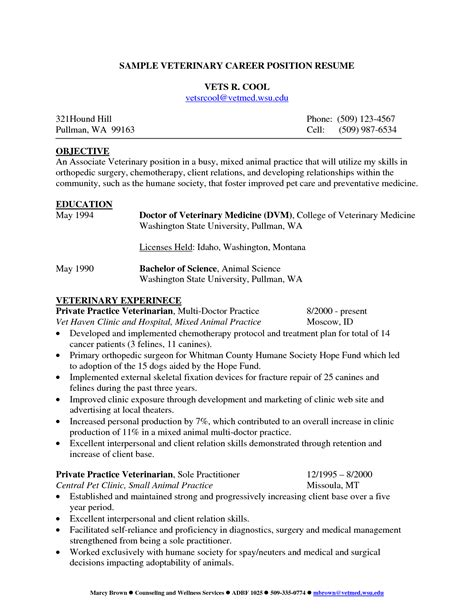 Exles Of Veterinarian Resumes by Resume Exles Vet Assistant Maker Create Professional