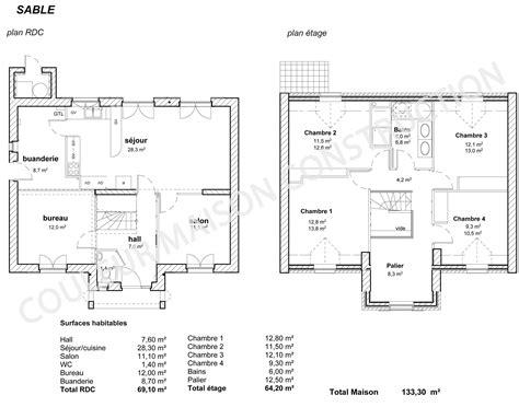 plan maison 4 chambres 騁age plan maison plain pied 150m2 maison moderne