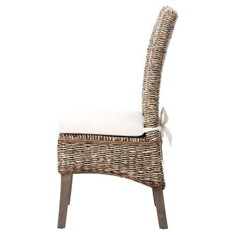 sisson modern woven banana leaf grey wood side chairs