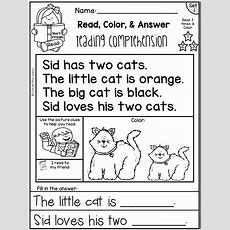 Reading Comprehension Passages  Read, Color & Answer {set 1 Short Vowels}  School Anglais