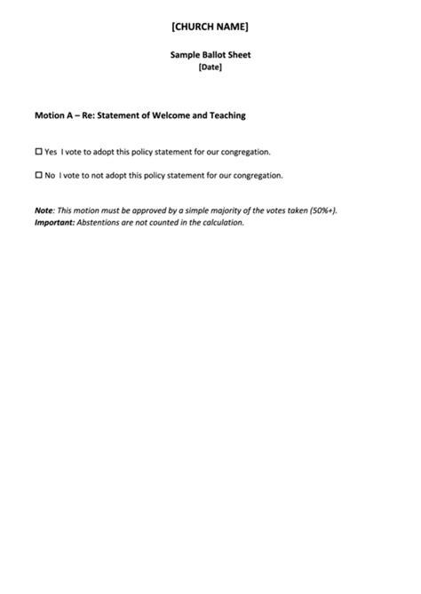 church ballot sheet printable