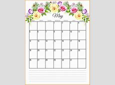 Printable Calendar 2019 May Printable Floral 2019 Monthly