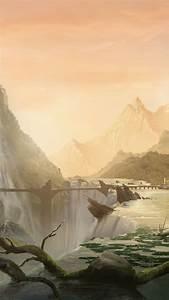 Wallpaper, Matte, Painting, 5k, 4k, Wallpaper, 8k, Art, Village, City, Forest, Waterfall, Bridge