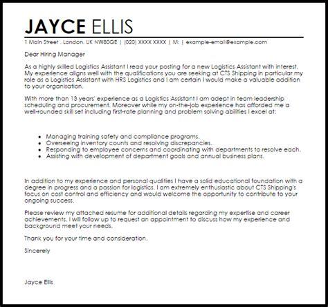 logistics assistant cover letter sle livecareer