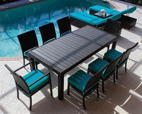 modern wood top outdoor wicker dining set