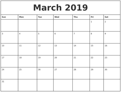 march printable monthly calendar