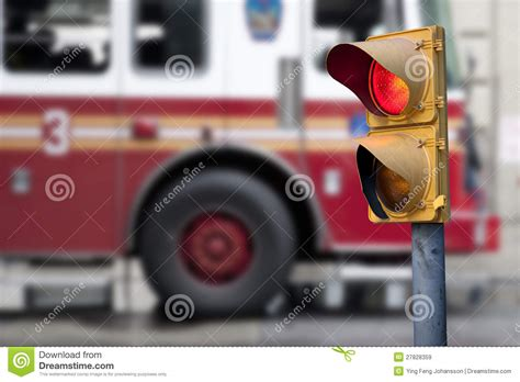 Traffic Light With Fire Engine Stock Image