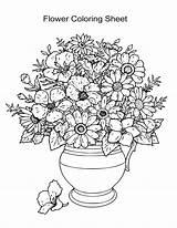 Coloring Flower Sheets Sheet Adults Esl Boys Printable Vase sketch template