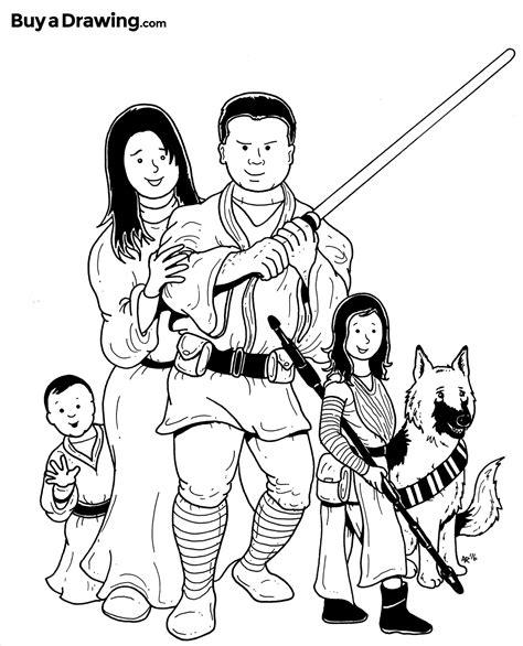 star wars family cartoon caricature   birthday gift