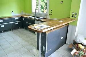 Fabriquer Une Table De Cuisine Avec Un Plan De Travail : plan de travail cuisine avec bar maison et mobilier ~ Nature-et-papiers.com Idées de Décoration