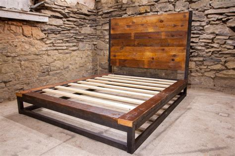 Industrial Platform Bed From Reclaimed Wood