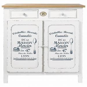 Buffet Blanc Maison Du Monde : buffet en bois blanc l 90 cm p tissier maisons du monde ~ Teatrodelosmanantiales.com Idées de Décoration