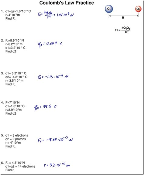 Coulombs Law Worksheet Photos Getadating