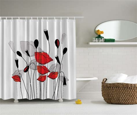 red gray black flowers floral fabric shower curtain