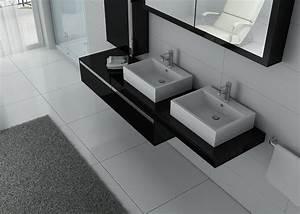 Meuble Vasque Double : meuble de salle de bain double vasque design meuble de salle de bain 2 vasques noir ~ Teatrodelosmanantiales.com Idées de Décoration