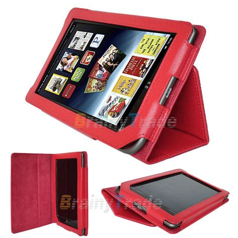 Red Pu Leather Cover Case Folio Stand For Barnes & Noble