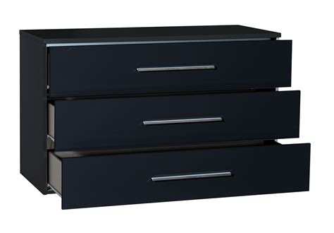 First 3 Drawer Black Gloss Chest Of Drawers