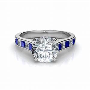 princess cut blue sapphire engagement ring With wedding ring with blue sapphire