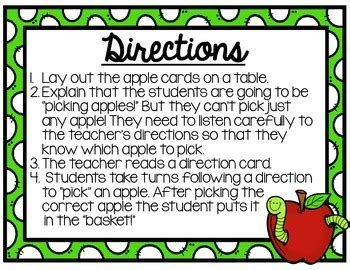 apples  directions game   teaching