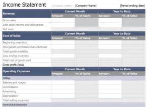 Income Statement Spreadsheet Excel Income Statement Template Free