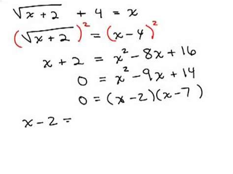 Solving Radical Equations 6 Youtube