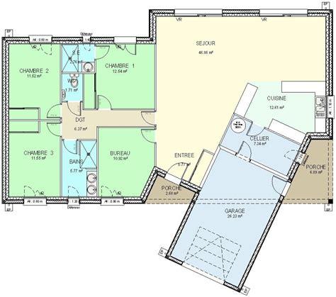 modele maison plain pied 3 chambres plan maison plein pied fr ue plan maison plain