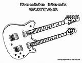 Guitar Coloring Pages Electric Guitars Musical Double Yescoloring Neck Instruments Instrument Playing Printable Colouring Bass Rock Don Cool Too Sheets sketch template